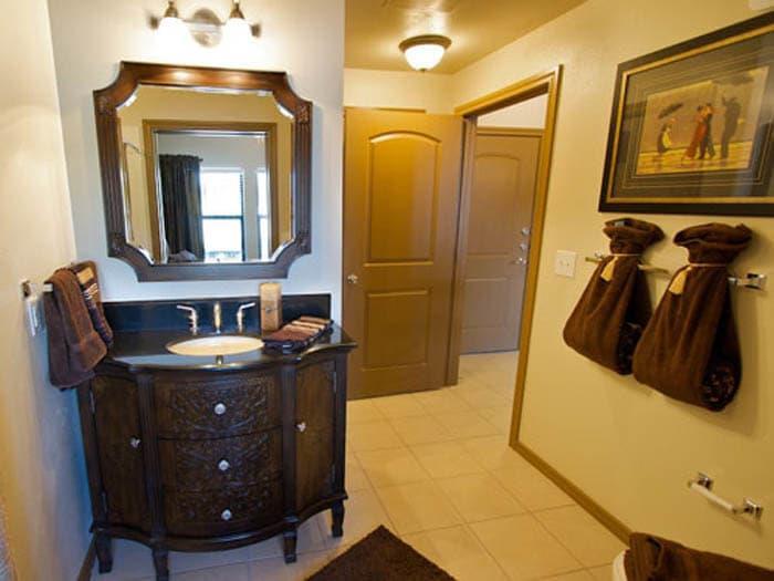 Designer bathroom at Meridian at Kessler Park TX