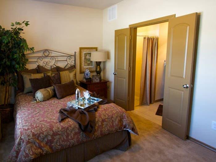Private bedrooms for peace of mind at Meridian at Kessler Park offers senior apartments featuring big bedrooms in Dallas, TX