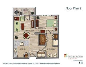 Large One Bedroom (Deluxe) Floor Plan at Meridian at Kessler Park, Dallas, 75211