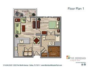 Spacious One Bedroom Floor Plan at Meridian at Kessler Park, Dallas