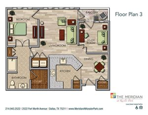 Private 1 Bedroom with Study Floor Plan at Meridian at Kessler Park, Dallas, Texas