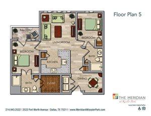 2 Bedroom 2 Bath (Deluxe) Floor Plan at Meridian at Kessler Park, Texas, 75211