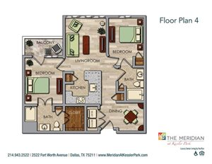 2 Bedroom 2 Bath Floor Plan at Meridian at Kessler Park, Dallas, TX, 75211