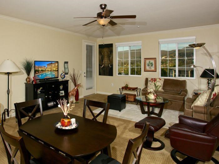 comfortable living and dining room at The Meridian at Lake San Marcos in San Marcos, CA