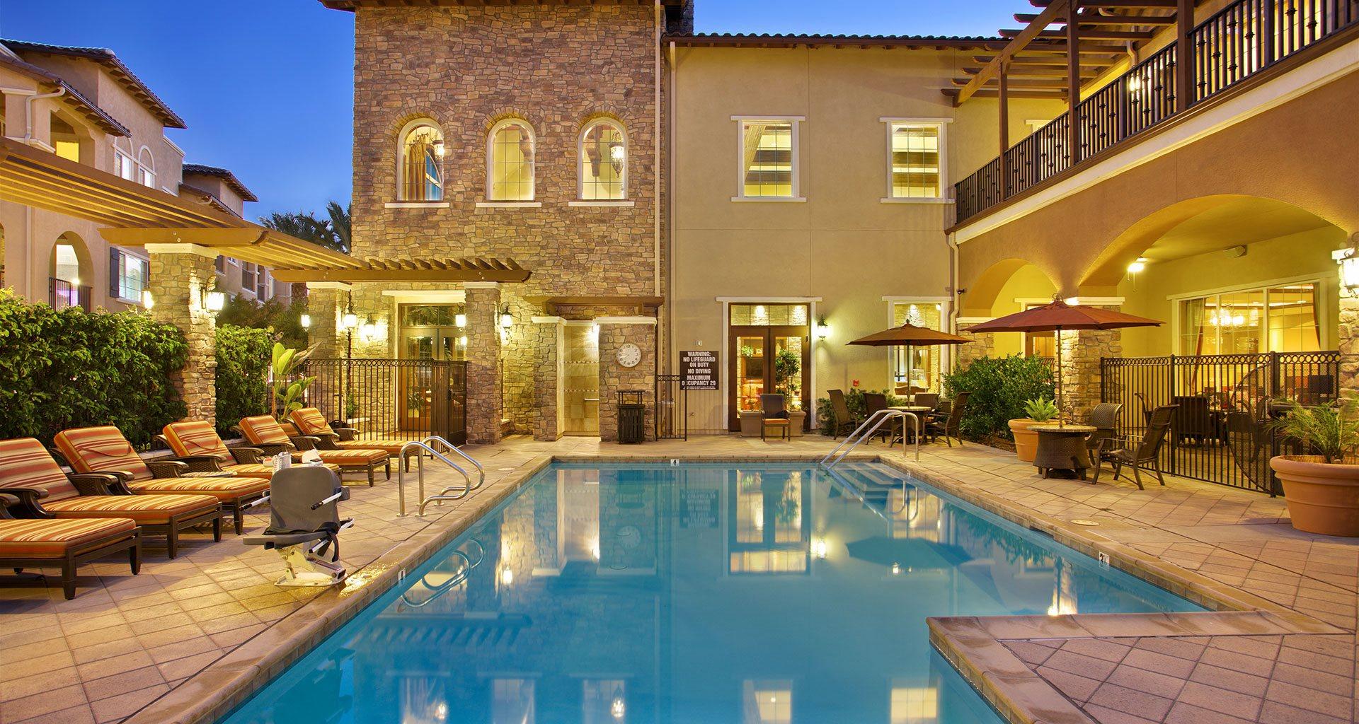 Lounge Swimming Pool With Cabana at Meridian at Lake San Marcos, California