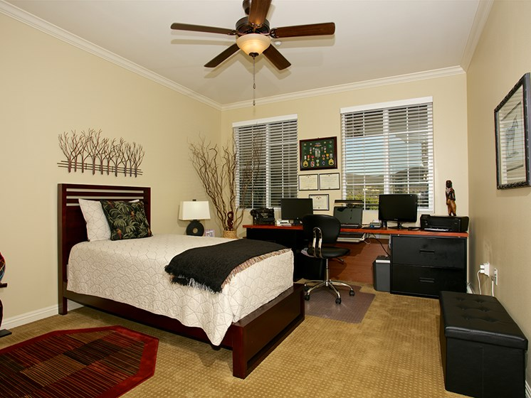spacious bedroom in a senior apartment at The Meridian at Lake San Marcos in San Marcos, CA