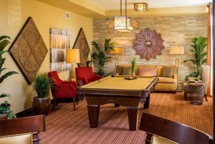 Billards Room Socializing at Meridian at Stone Creek, Washington