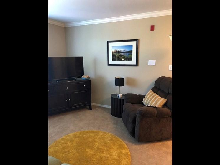 Living Room With Television at Meridian at Stone Creek, Washington, 98003