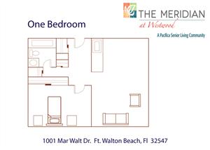 Spacious 1 Bedroom Floor Plan at Meridian at Westwood, Florida, 32547