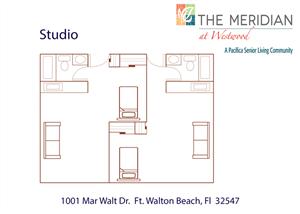 Private Studio Floor Plan at Meridian at Westwood, Ft. Walton Beach, Florida