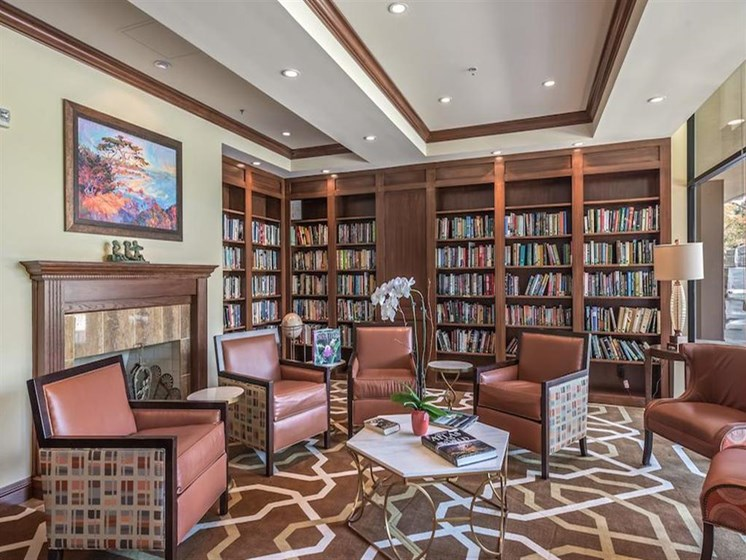 The Park Lane offers a beautiful clubhouse with library in Monterey, California