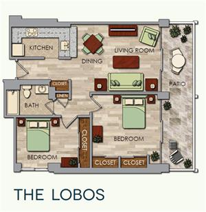 The Lobos Floor Plan at The Park Lane, Monterey, CA, 93940