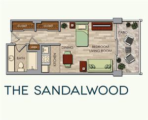 The Sandalwood Floor Plan at The Park Lane, Monterey, CA