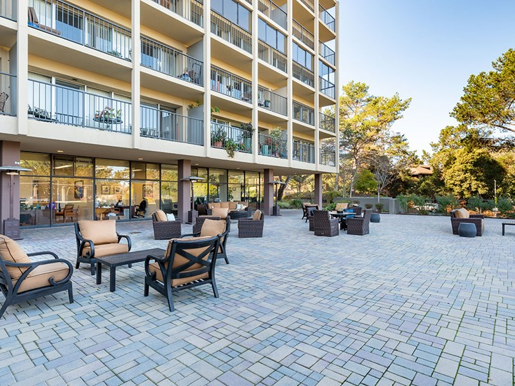 Lounge Outside Property at The Park Lane, California, 93940, Pacifica Senior Living