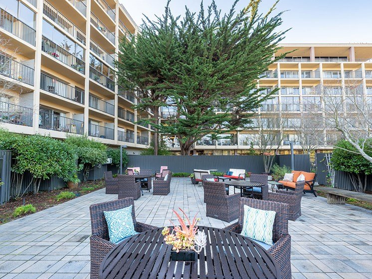 Rooftop Terrace Seating at Pacifica Senior LIving, The Park Lane, Monterey, 93940
