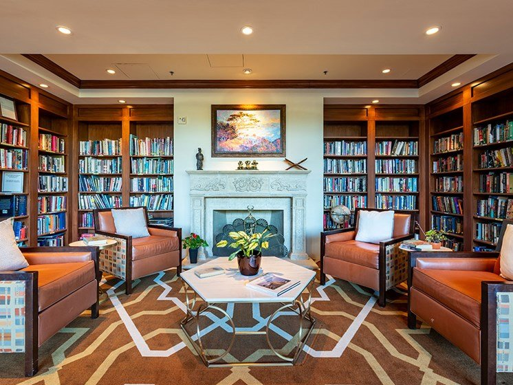 Relaxing Library Room With Books at Pacifica Senior LIving, The Park Lane, Monterey, California