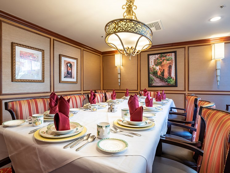 Dining Room With Table  at Pacifica Senior LIving, The Park Lane, Monterey, CA, 93940