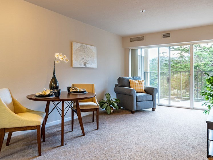 Living Room With Flower Pot at Pacifica Senior LIving, The Park Lane, Monterey, CA