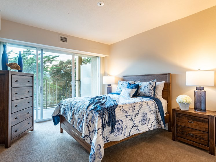 Bedroom with Closet at Pacifica Senior LIving, The Park Lane, Monterey, California