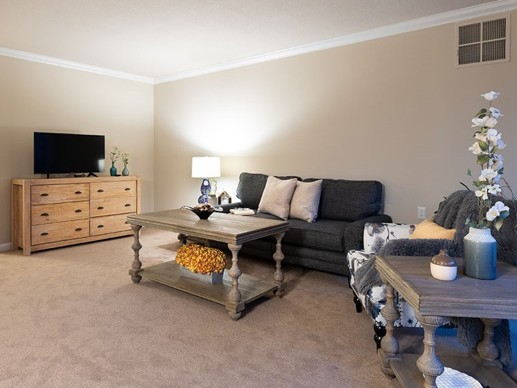 Living Room With Table Lamp at The Park Lane, California, Pacifica Senior Living