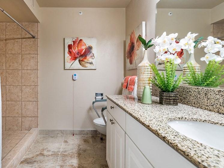 Custom Look Bathroom at Pacifica Senior LIving, The Park Lane, Monterey