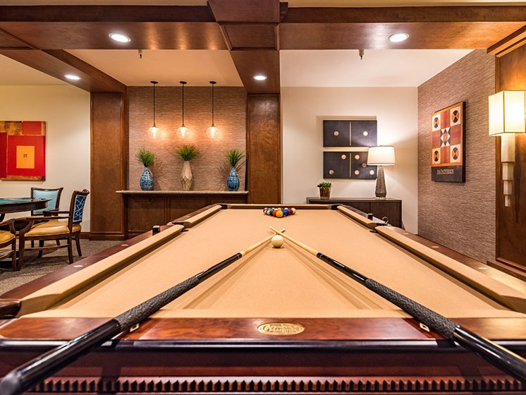 Billiards Table In Game Room at Pacifica Senior LIving, The Park Lane, Monterey, California
