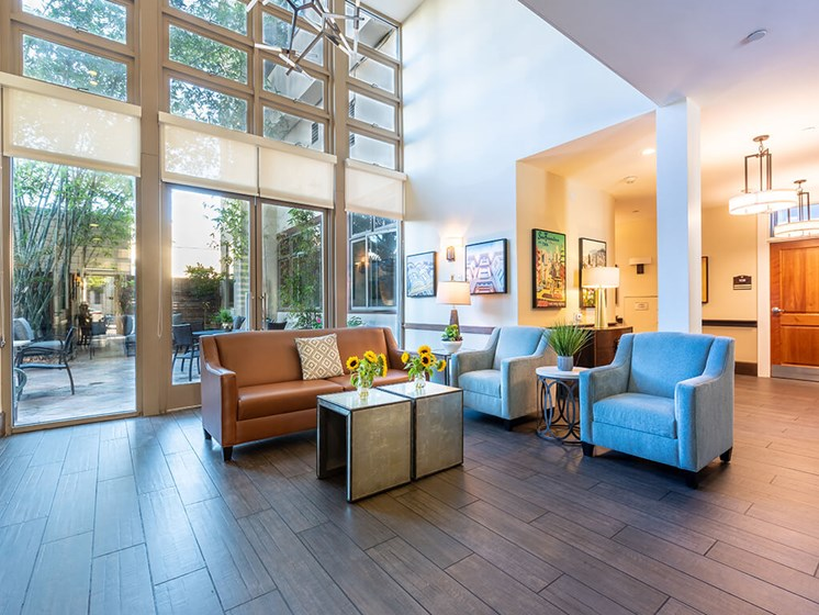 Fully furnished lobby area at The Village at Hayes Valley, San Francisco, 94102