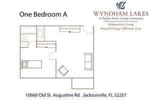 One Bedroom A Floor Plan at Wyndham Lakes, Jacksonville, FL