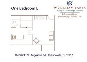 One Bedroom B Floor Plan at Wyndham Lakes, Jacksonville, 32257