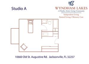 Studio A Floor Plan at Wyndham Lakes, Jacksonville, Florida