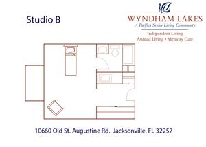 Studio B Floor Plan at Wyndham Lakes, Jacksonville
