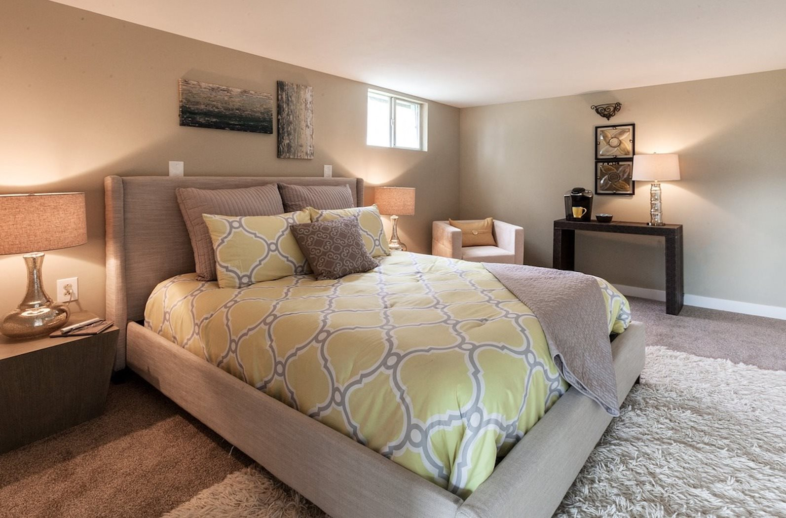 example bedroom with model furnishings