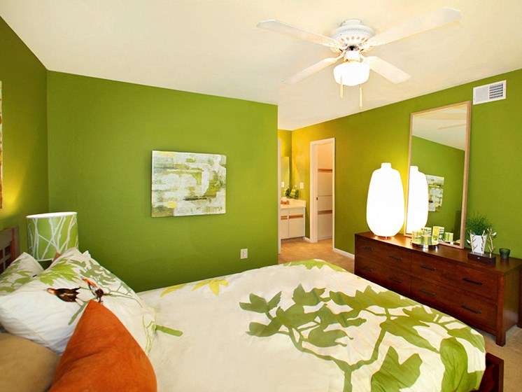 Bedroom with green interior color