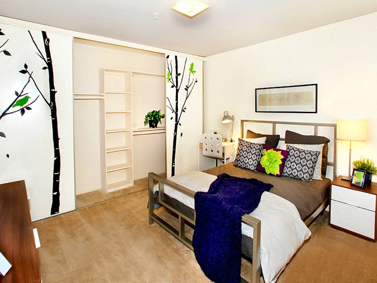 Bedroom with ample closet space