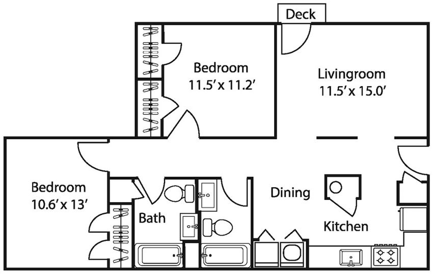The Avery at Auburn Apartments in Auburn, AL 2 bedroom 2 bath Donahue floor plan