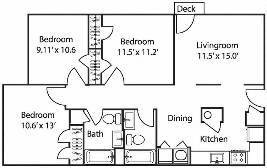 The Avery at Auburn Apartments in Auburn, AL  bedroom 2 bath Hamilton floor plan