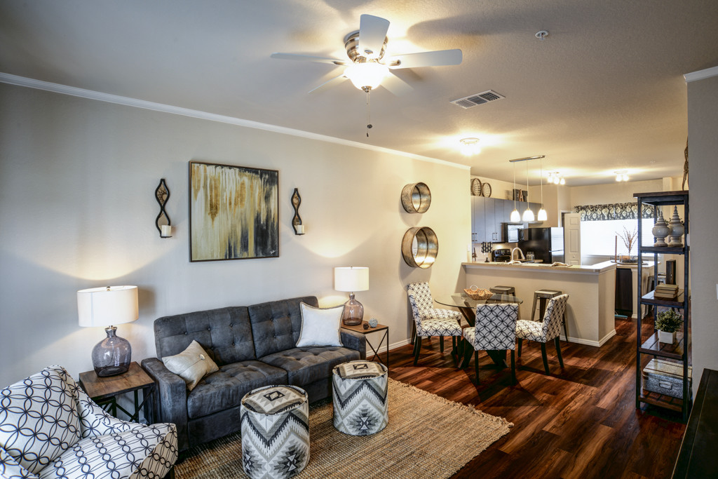 Model Living Room, Dining, and Kitchen at Century Lakehouse, Plant City