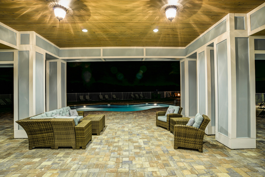 Outdoor Clubhouse Night at Century Lakehouse, Plant City, Florida