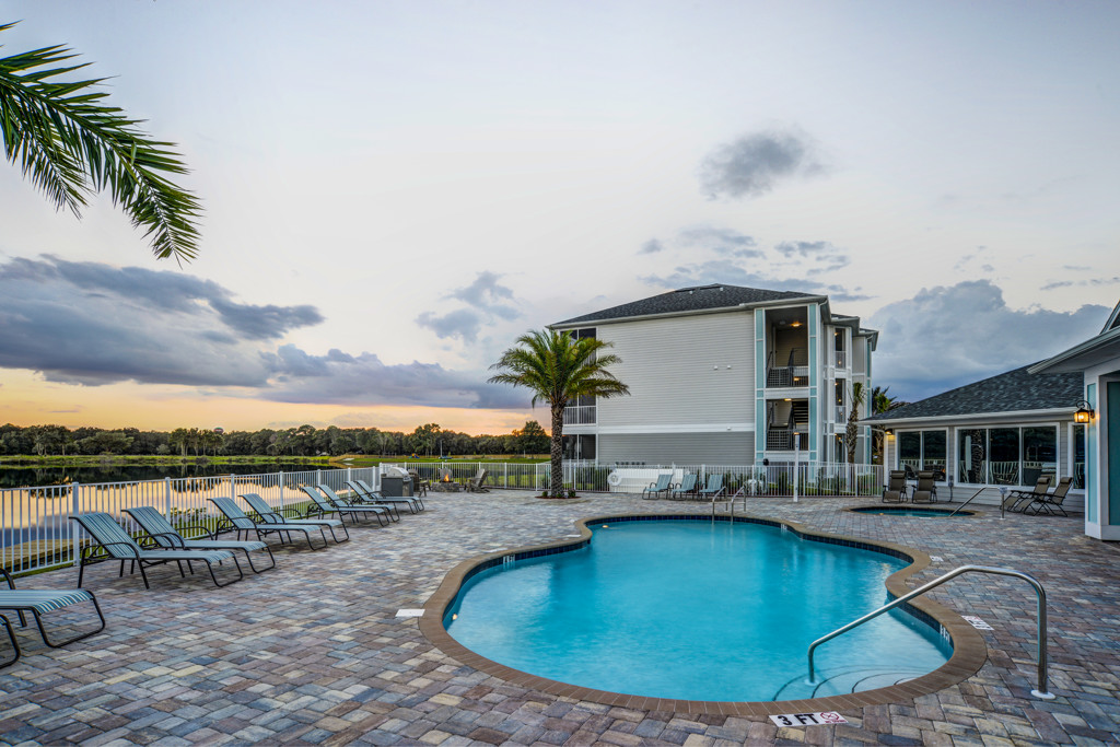 Pool Side Relaxing Area With Sundeck at Century Lakehouse, Plant City, FL, 33566