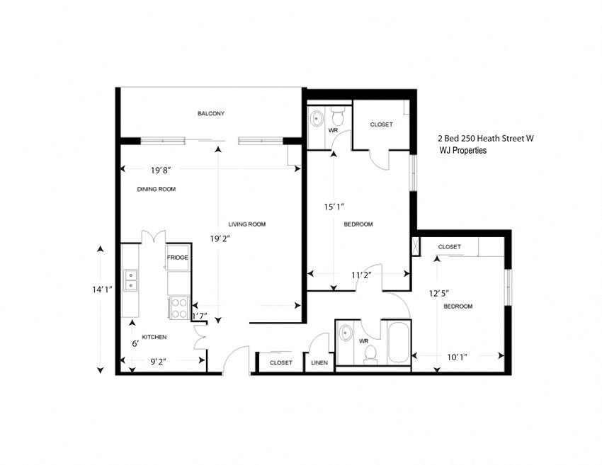 2 Bed Apartment 980 sq ft