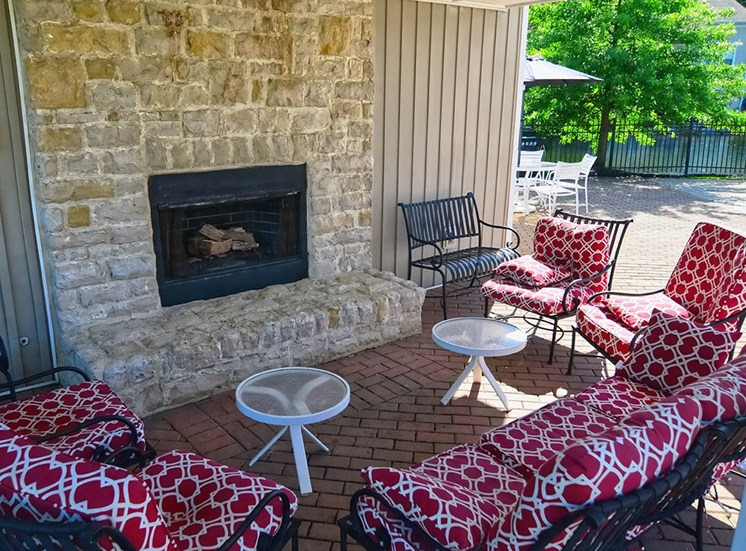 outdoor fireplace at the Farms Apartments