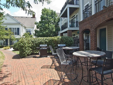 Tables and grill at Times Square Apartments in Dublin OH