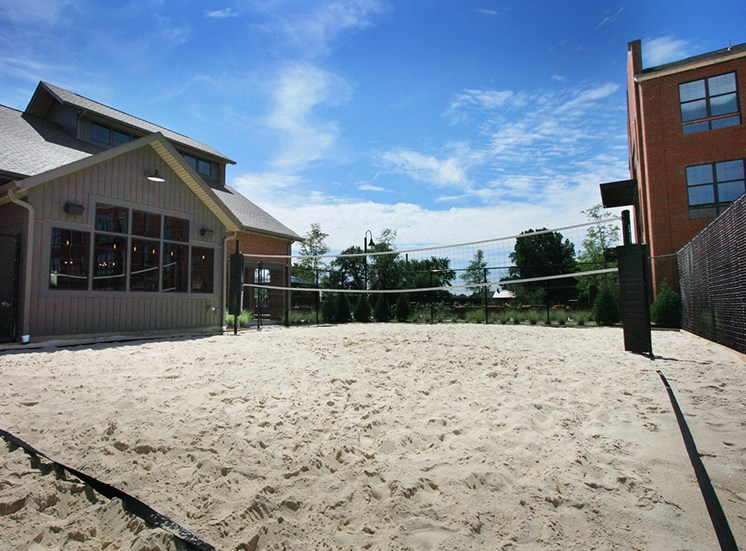 Sand volleyball court at Hayden Lofts Apartments