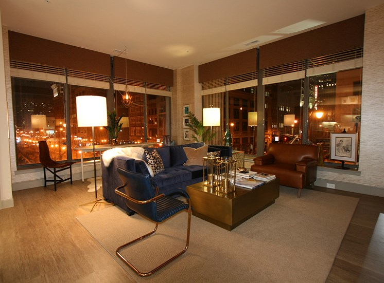 Living room at night at The Citizens Apartments