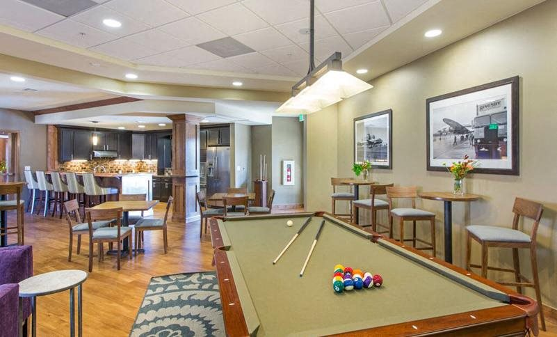 Game Room with Billiards at The Grove at Stapleton, Colorado