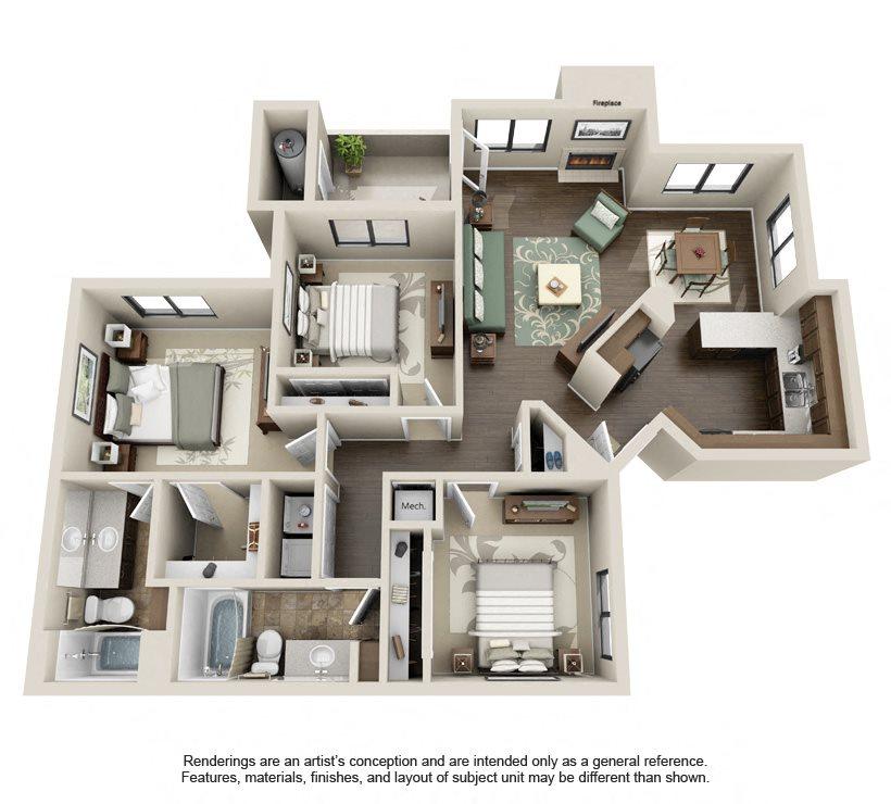 1 2 3 bedroom apartments in phoenix az the sonoran - One bedroom apartments in phoenix az ...