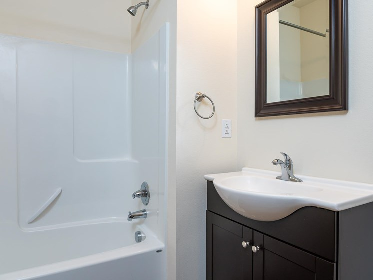 bathroom with single vanity and sink. Tub and shower combo.