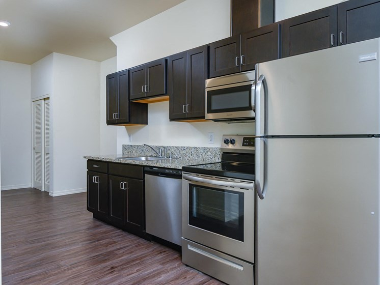 Kitchen with dark cabinetry and stainless steel refrigerator, stove/oven, microwave and dishwasher.