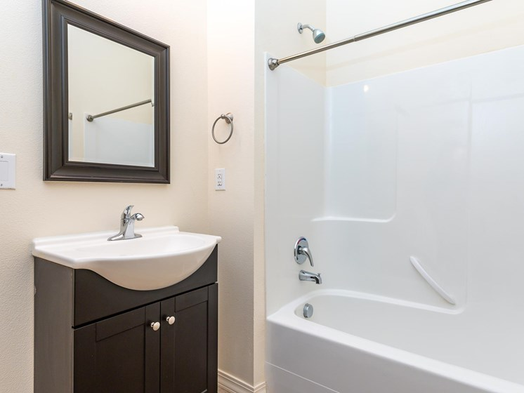 Bathroom with tub shower combination. Single vanity sink with cabinet below. Mirror above sink.
