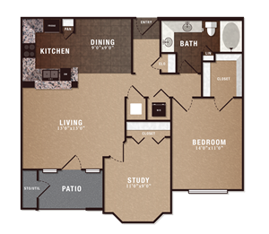 A4 1 Bedroom 1 Bath w/ Study